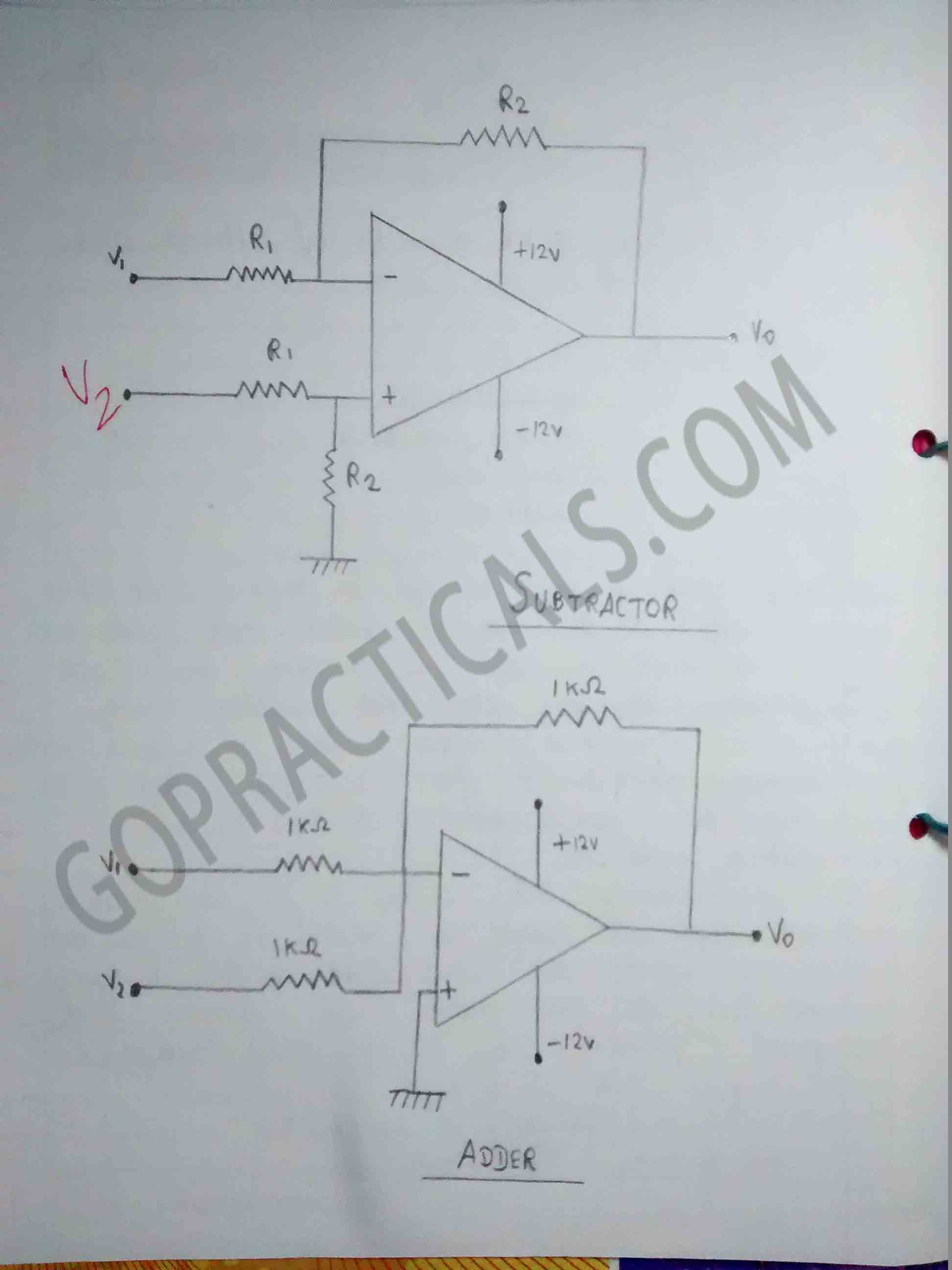 To Study Op Amp As Adder And Subtractor Circuit Aic Practical Diagram Electronics Opamp 2